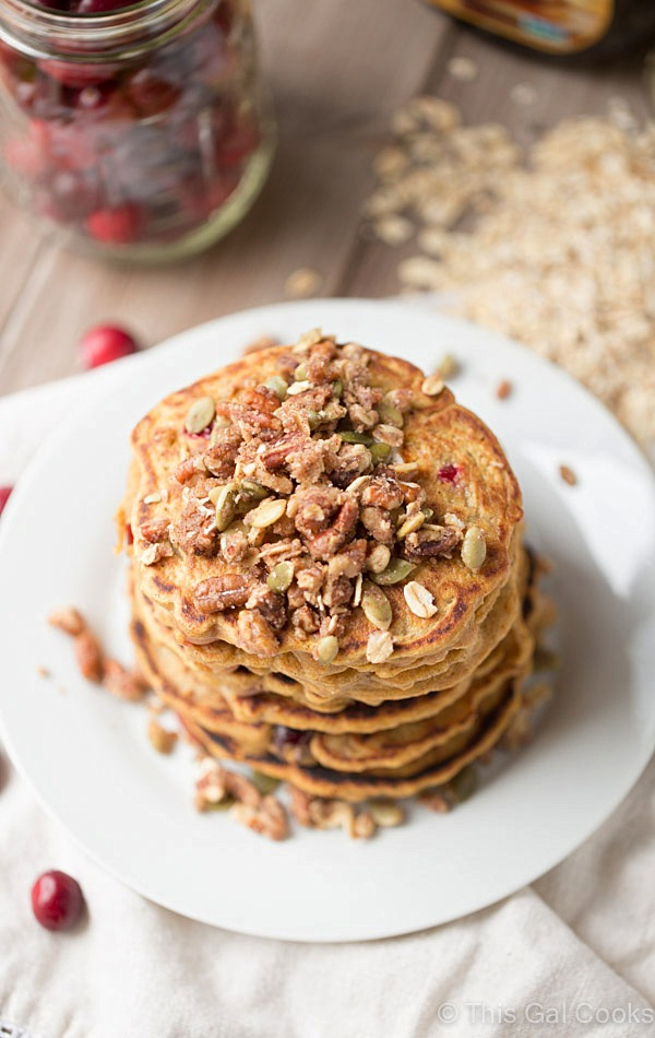 Healthier dairy free Cranberry Pumpkin Pancakes | This Gal Cooks #breakfast
