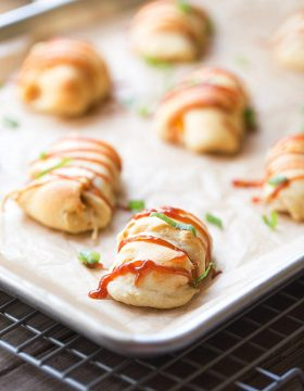 Four Ingredient BBQ Chicken Roll Ups. A Simple Appetizer | This Gal Cooks