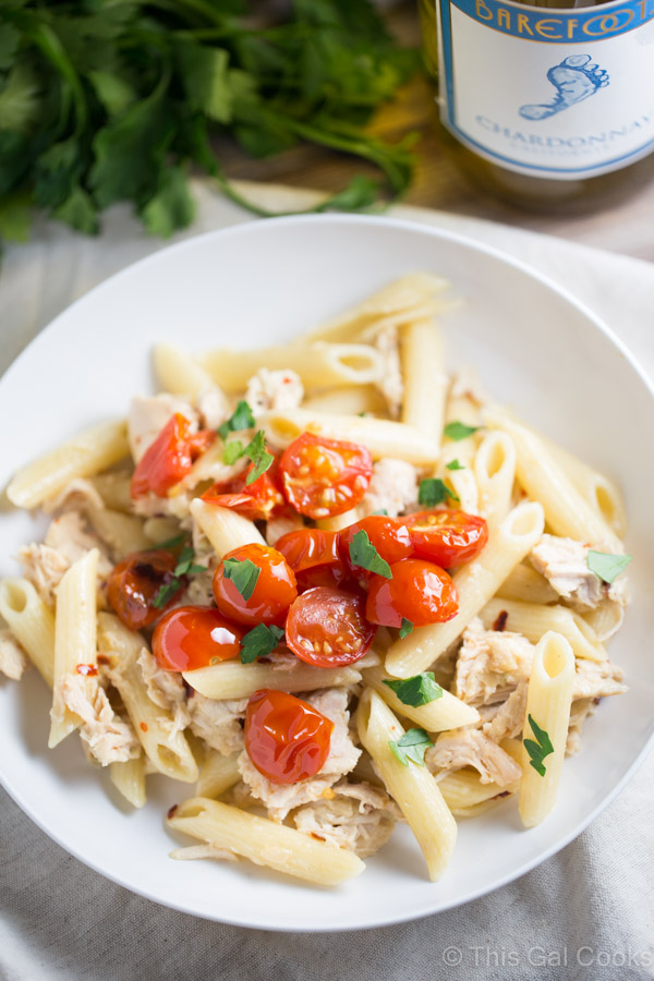 One Pan Chicken Pasta with Chardonnay Wine Sauce   This Gal Cooks