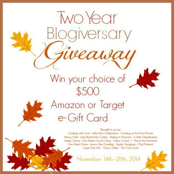 Two Year Blogiversary Giveaway 2