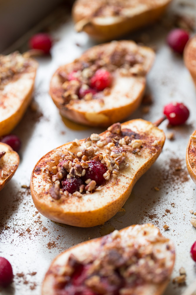 Baked Pears with Honey, Cranberries and Pecans. A healthy holiday dessert option.