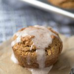 These Gingerbread Muffins are soft and full of flavor. A simple, one bowl recipe. Topped with sweet cinnamon sugar glaze for an extra burst of yum!
