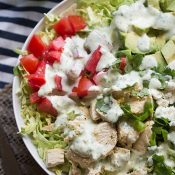 Shaved Brussels Sprout Salad with Creamy Cilantro Dressing