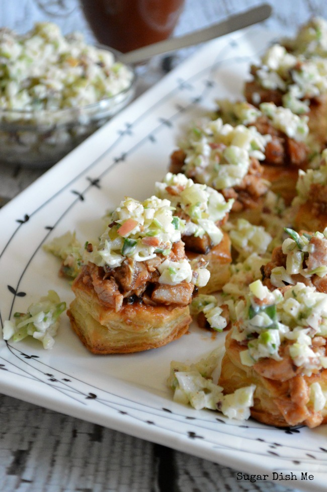 BBQ Pork Bites with Apple Bacon Slaw | Sugar Dish Me