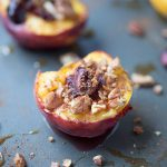 These delicious baked peaches are baked with sweet cherries, pecans, cinnamon and nutmeg and honey. Then they're topped with baked brie cheese. SO good and a healthier option for dessert, too!