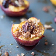 Baked Peaches with Cherries, Pecans and Brie