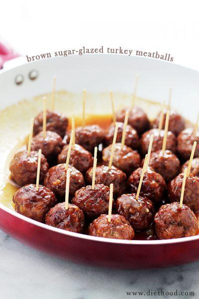 Brown Sugar Glazed Turkey Meatballs | Diethood