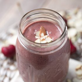 This dairy free Cherry Almond Breakfast Shake is so easy to make and is a great healthy option for breakfast!