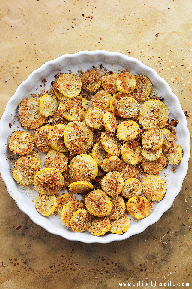Garlic Parmesan Squash Chips | Diethood