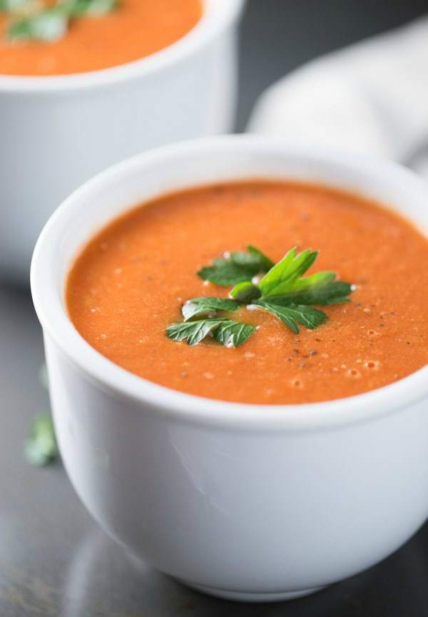 Roasted Tomato Soup is made with fresh roasted tomatoes, onions, thyme and balsamic vinegar. Half and Half is added for extra creaminess! 110 cal/serving!