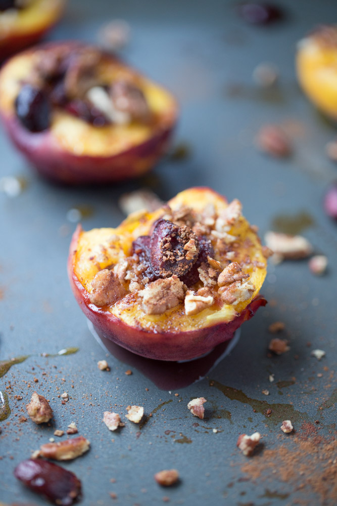 Baked Peaches with Cherries and Pecans. A healthier dessert option with under 100 calories per serving!
