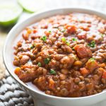 This simple and delicious lentil chili is ready to devour in 2o short minutes. Make it your own by topping with your favorite cheese, low fat sour cream and herbs!