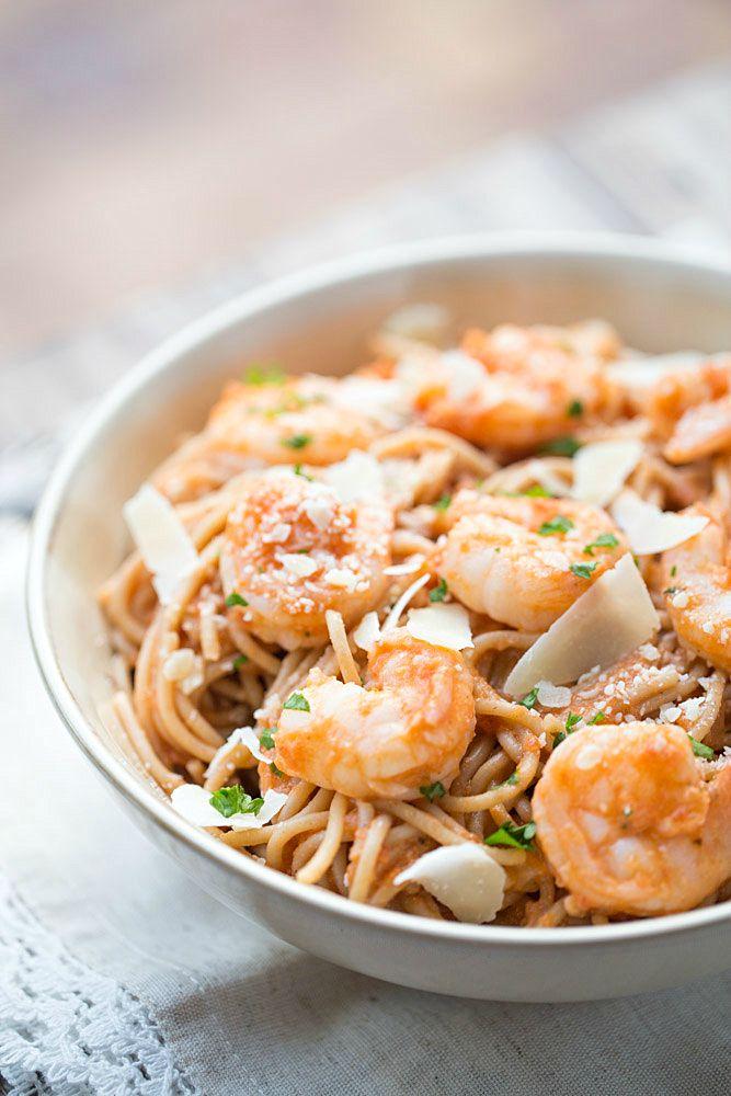 Shrimp Pasta with Spicy Tomato Cream Sauce