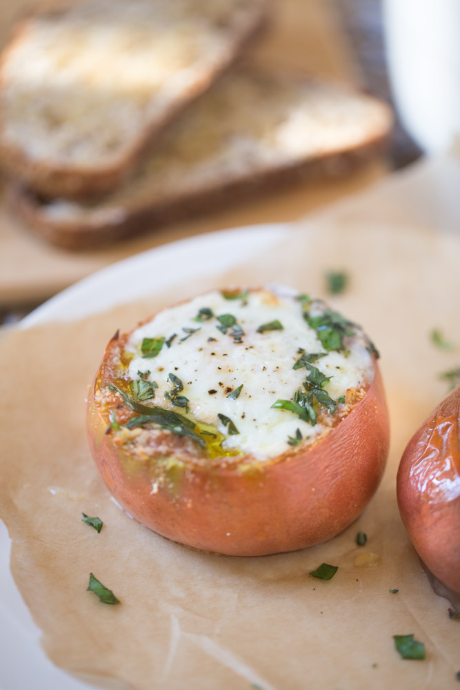 For breakfast: Heirloom Tomatoes with Baked Eggs