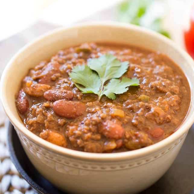Simple and delicious Beef Chili is made thick and hearty by adding masa harina.