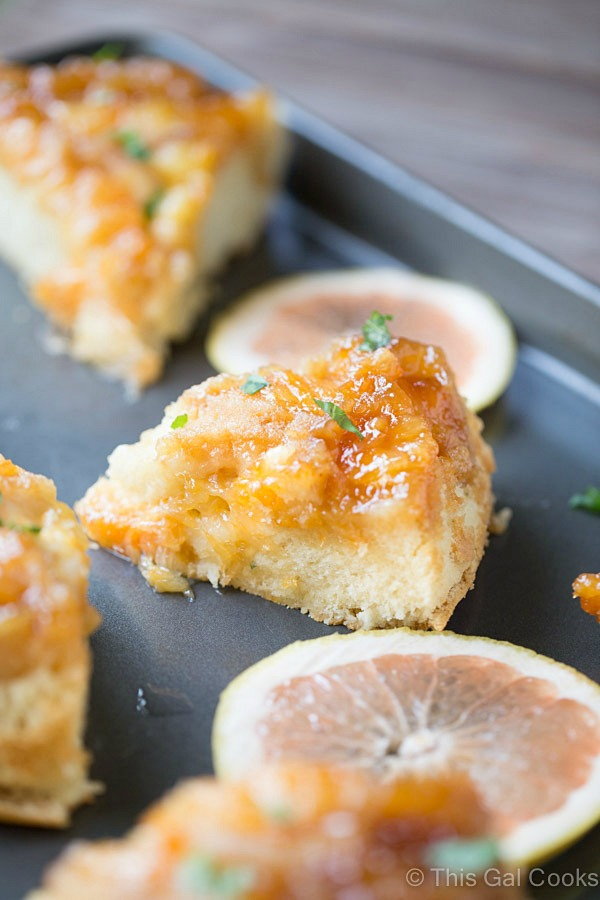 From scratch Grapefruit Upside Down Cake is made with fresh, sweet Florida Grapefruit and a cake batter that results in a soft, fluffy cake. Garnished with fresh chopped basil for complimentary flavor.