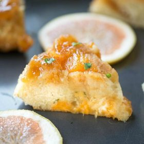 From scratch Grapefruit Upside-Down Cake is made with fresh, sweet Florida Grapefruit and a cake batter that results in a soft, fluffy cake. Garnished with fresh chopped basil for complimentary flavor.