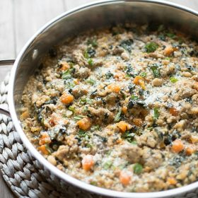 Skillet Farro and Turkey Sausage Casserole. | This Gal Cooks
