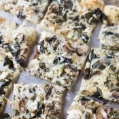 Veggie Pizza with Kale, Mushrooms and Pesto