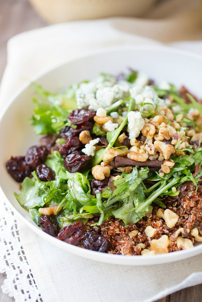 Simple and healthy Baby Greens Salad with Quinoa and Honey Balsamic Vinaigrette | This Gal Cooks