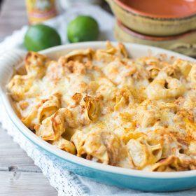 Five Ingredient Chicken Enchilada Tortellini Bake. Ready for dinner in under 30 minutes! | This Gal Cooks