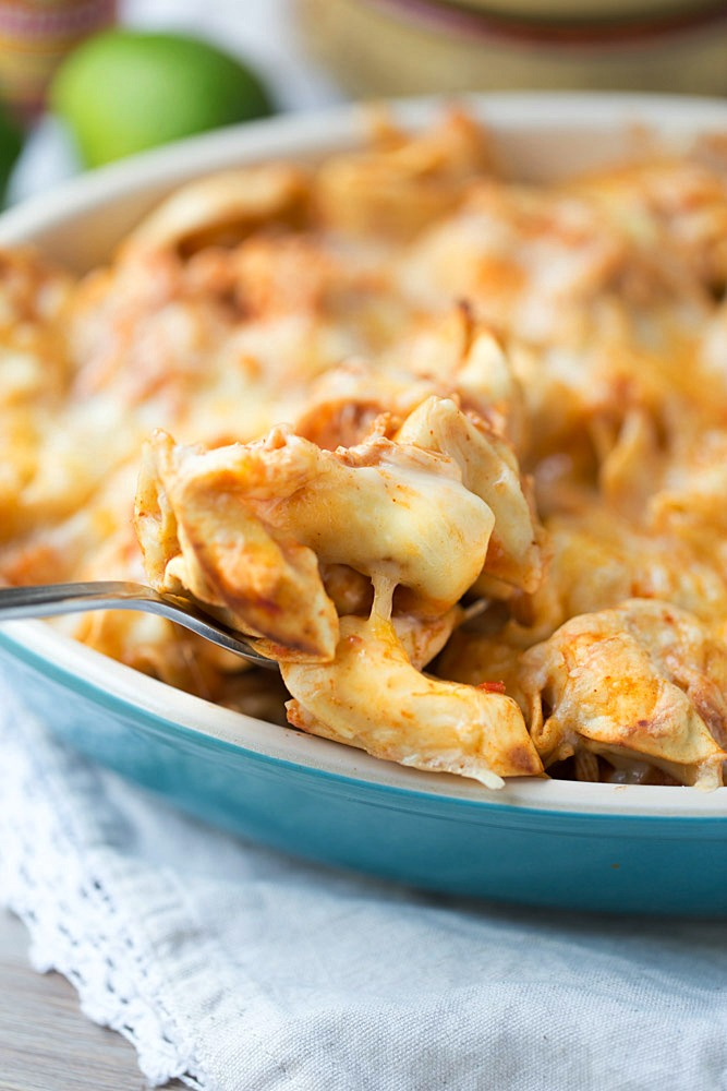 Easy Chicken Enchilada Tortellini Bake. Ready for dinner in under 30 minutes! | This Gal Cooks