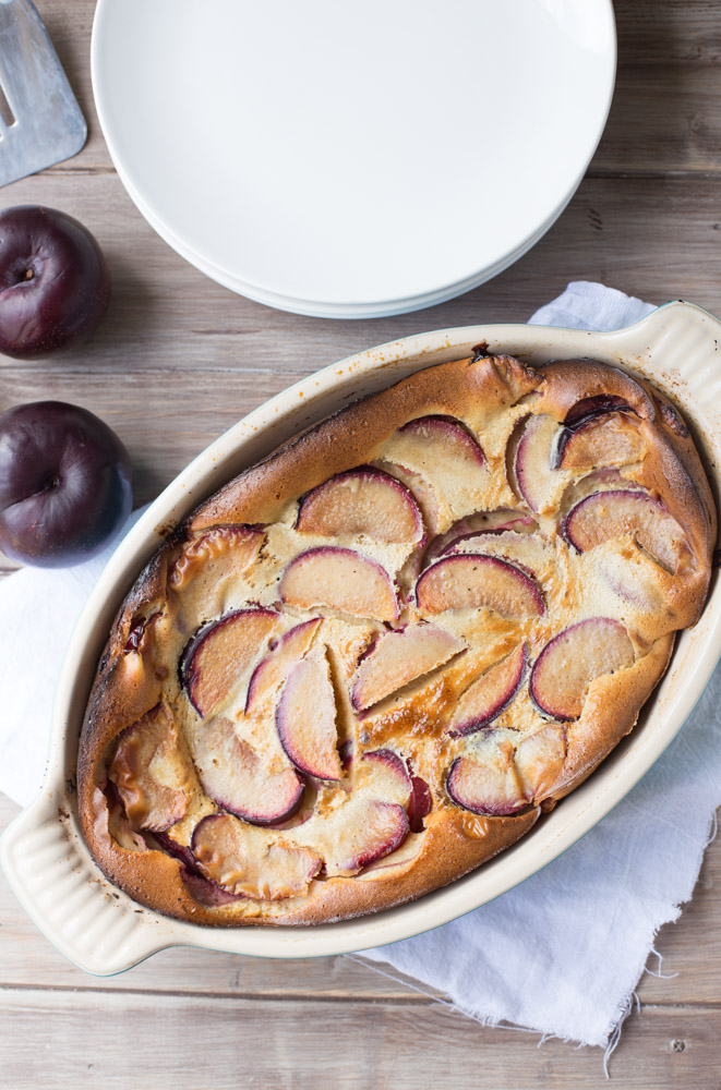 Melt in your mouth Plum Clafoutis is out of this world amazing and so easy to make, too! | This Gal Cooks
