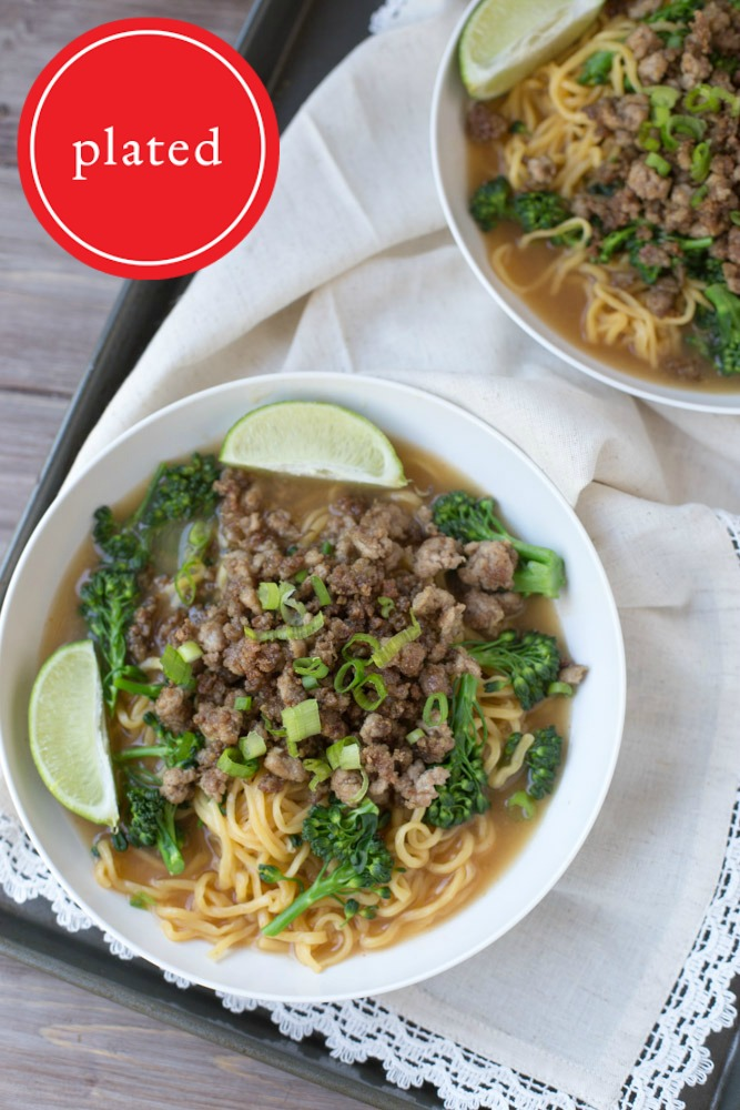 Crispy Lemongrass Pork and Long Life Noodles in Sriracha Chicken Broth