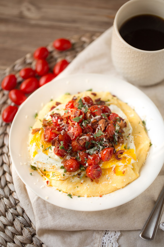 Breakfast Polenta with Roasted Tomatoes, Eggs and Bacon ...