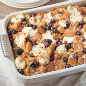 For breakfast: Croissant French Toast Casserole.