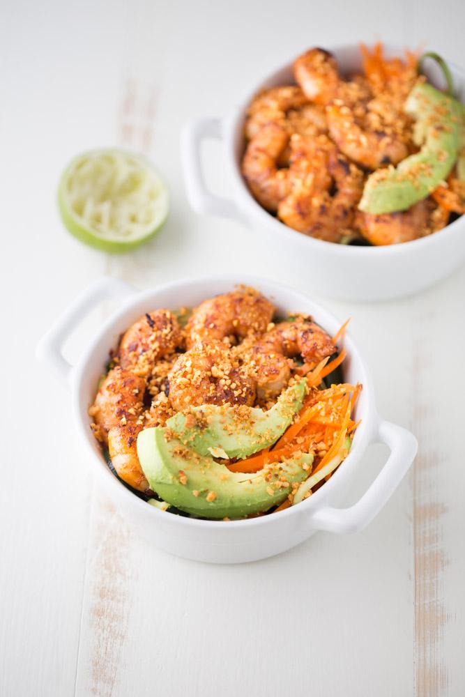 Spicy Shrimp Cucumber Noodle Bowl   This Gal Cooks