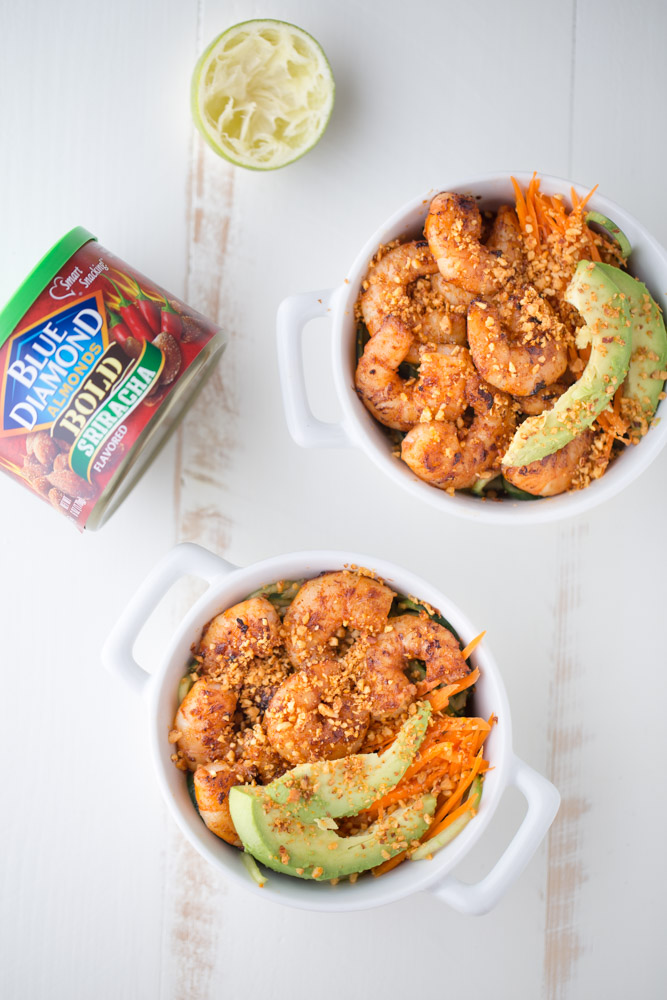 Spicy Shrimp Cucumber Noodle Bowl | This Gal Cooks
