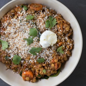 Vegetarian Spiced Lentils with Toasted Coconut | This Gal Cooks