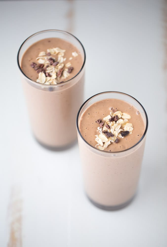 Chocolate Peanut Butter Smoothie. Made with superfoods. Dairy free. Vegan. 285 calories per 8oz serving! | This Gal Cooks