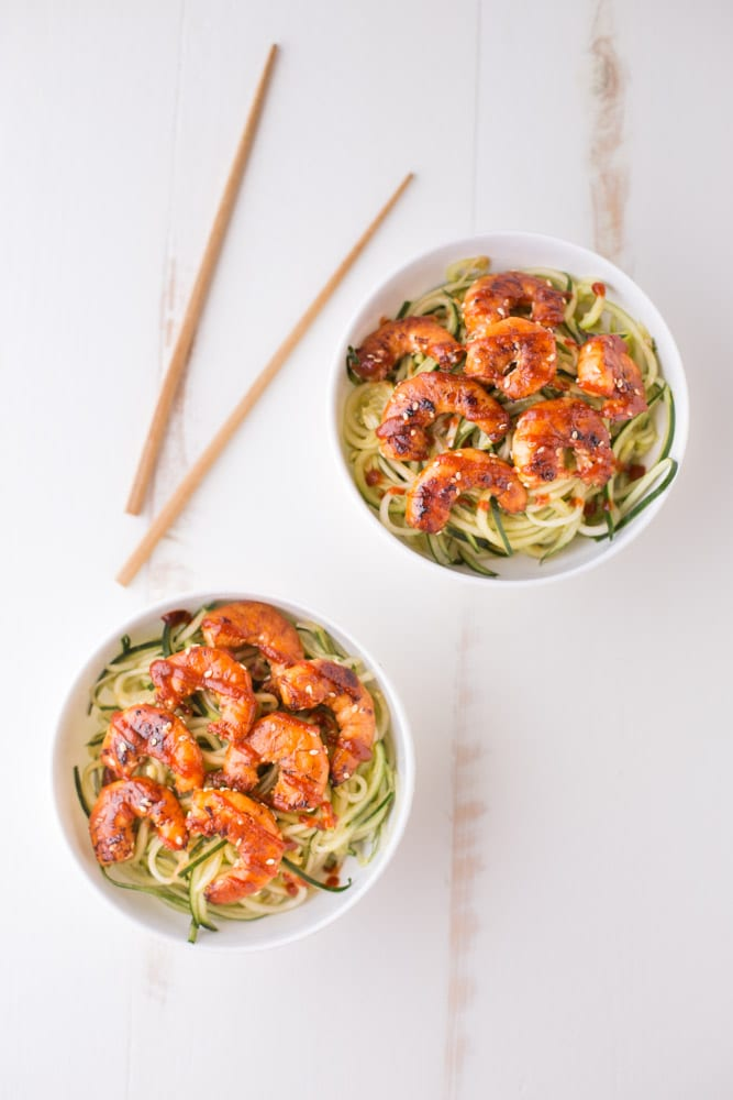 Delicious Cucumber Noodle Bowls with Sesame Shrimp. A grain free, healthy option that's full of flavor! | This Gal Cooks