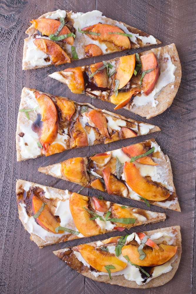 Grilled Nectarine Flatbread with Mascarpone and Balsamic. A great option for appetizers or snacks! | This Gal Cooks
