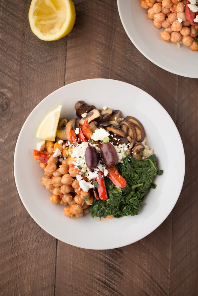 These simple and delicious Mediterranean Veggie Rice Bowls are a great healthy meal option. Perfect for Meatless Monday lunch or dinner.| This Gal Cooks