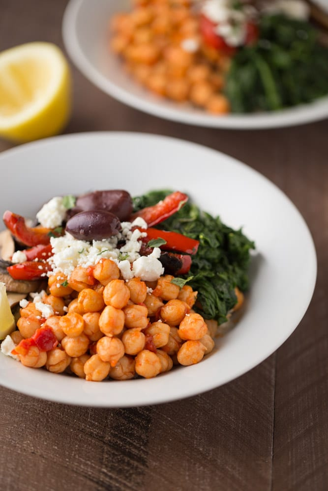 These simple and delicious Mediterranean Veggie Rice Bowls are a great healthy meal option. Perfect for Meatless Monday lunch or dinner.  This Gal Cooks