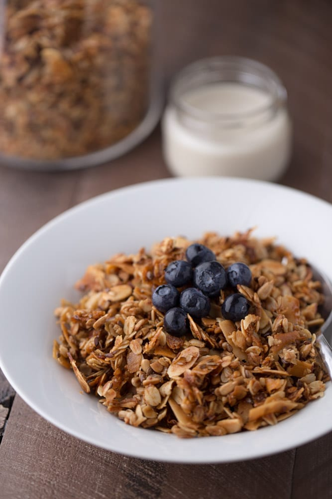 Simple Vanilla Almond Granola. Great for breakfast or snacking! | This Gal Cooks