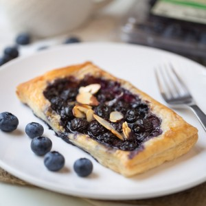 blueberry, brie and almont tarts