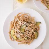 Lemon Zucchini Pasta (whole grain + vegetarian)