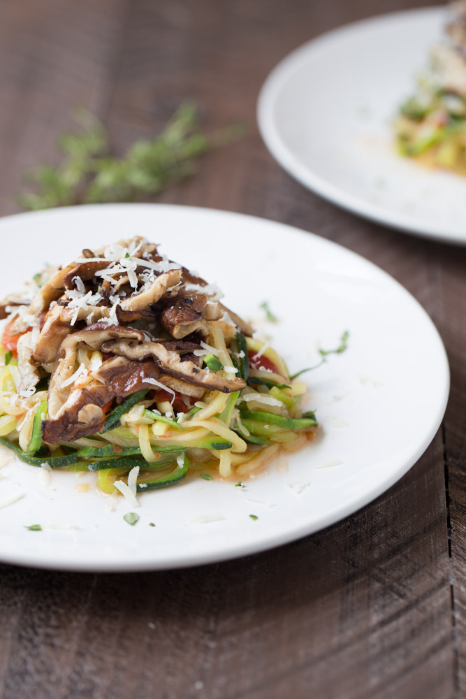 Zucchini Noodles with Shiitakes and Tomato Sauce | Small Green Kitchen @smallgreenkitch