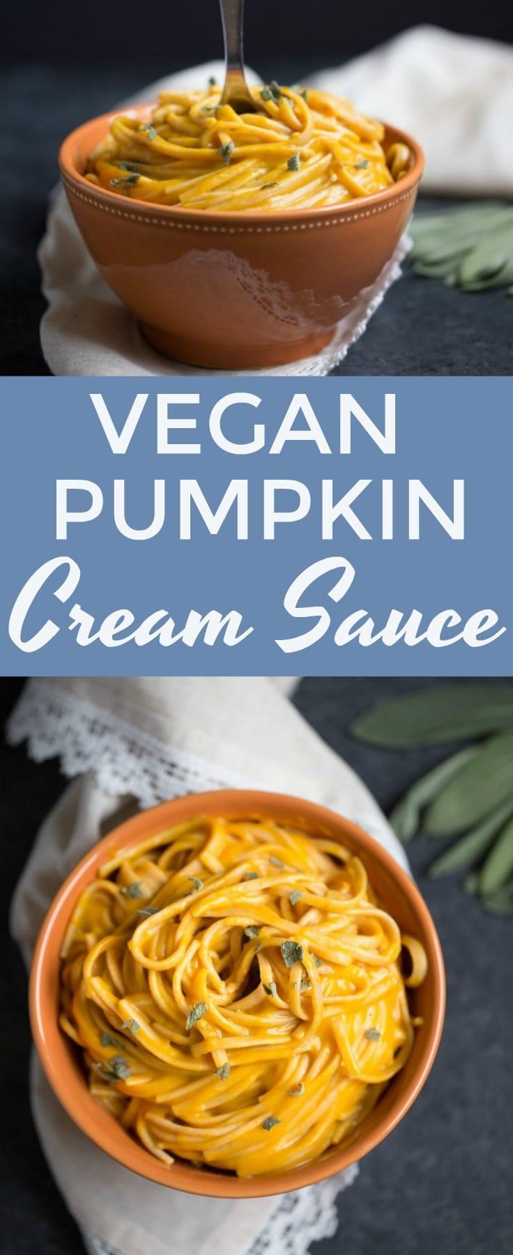 The creamiest #vegan pumpkin cream sauce you'll ever try! Perfect for pasta, dipping, pizza or burritos! #pumpkin #savory #vegetarian