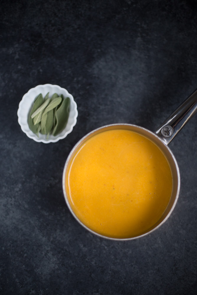 Vegan Pumpkin Cream Sauce. Low calorie, low sugar + low fat. Only 57 calories per 1/2 C serving.