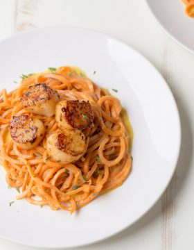 Blackened Scallops with Sweet Potato Noodles {dairy free + gluten free) | This Gal Cooks