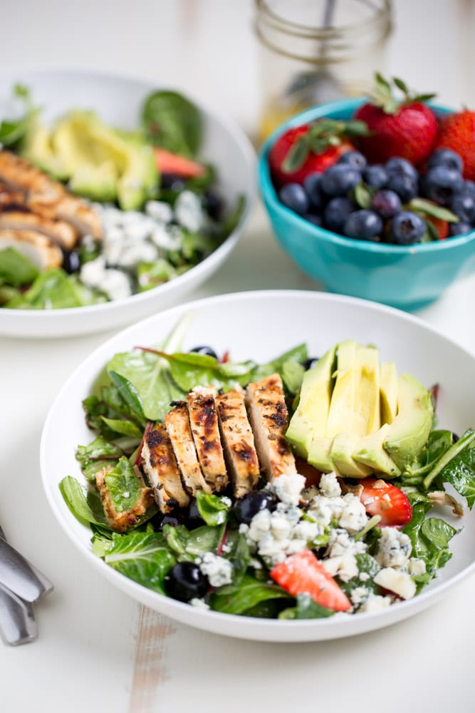 Gorgonzola Chicken Salad with Berries and Avocado is a fresh and ...