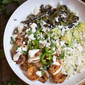 Shrimp Fajita Bowls with Cilantro Lime Cauliflower Rice | This Gal Cooks