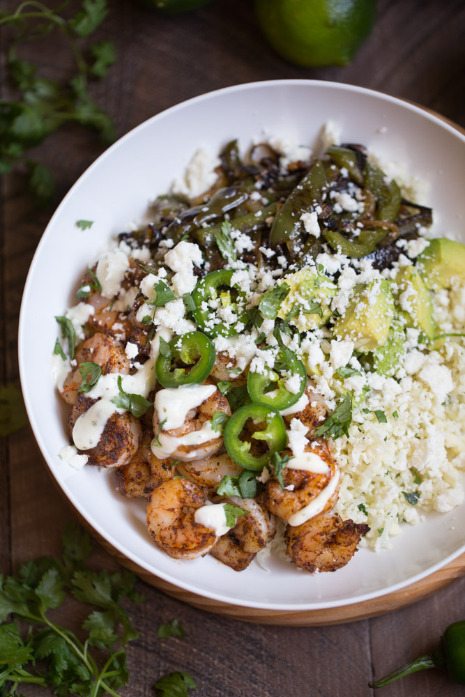 Shrimp Fajita Bowls with Cilantro Lime Cauliflower Rice | This Gal Cooks