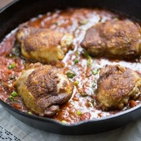 These AMAZING Coconut Curry Chicken Thighs are made with real ingredients! Easy to make, paleo friendly and grain free.