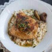 One Skillet Chicken Thighs and Mushrooms with Cauliflower Rice